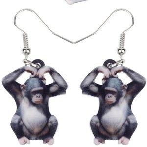Gorilla Monkey Acrylic Earrings